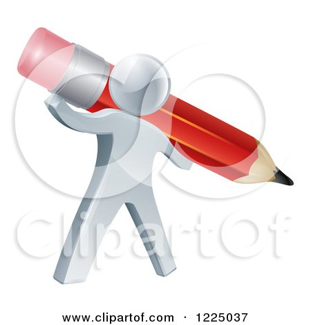 Clipart of a 3d Silver Person Holding a Giant Red Pencil - Royalty Free Vector Illustration by AtStockIllustration