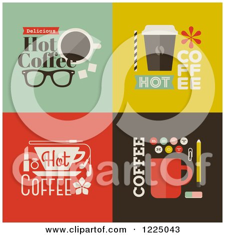 Clipart of Cot Coffee Designs - Royalty Free Vector Illustration by elena