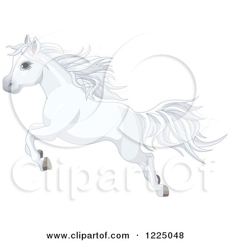 Cute White Pony Horse Leaping Posters, Art Prints