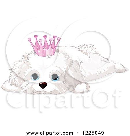 Clipart of a Cute Spoiled Bichon Frise or Maltese Puppy Dog Resting and Wearing a Crown - Royalty Free Vector Illustration by Pushkin
