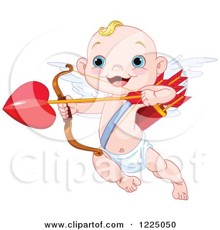 Clipart of a Cute Baby Cupid Aiming Love's Arrow - Royalty Free Vector Illustration by Pushkin