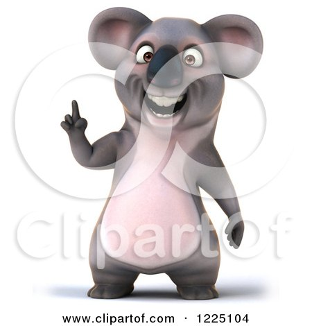 Clipart of a 3d Koala Mascot Smiling and Pointing up - Royalty Free Vector Illustration by Julos