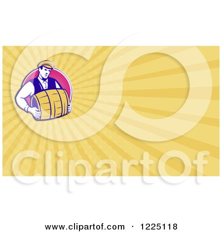 Clipart of a Retro Bartender Carrying a Beer Keg Background or Business Card Design - Royalty Free Illustration by patrimonio
