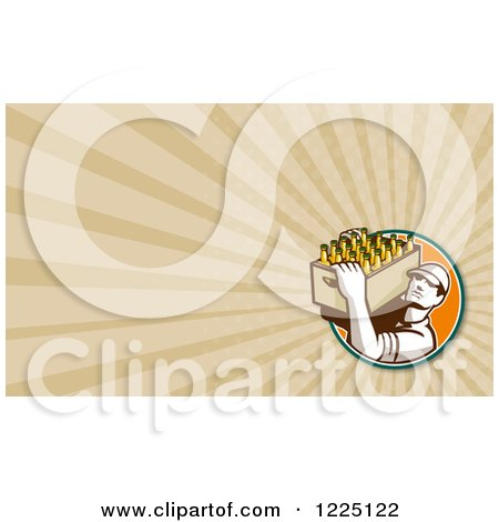 Clipart of a Bartender Carrying a Box of Beer Bottles Background or Business Card Design - Royalty Free Illustration by patrimonio