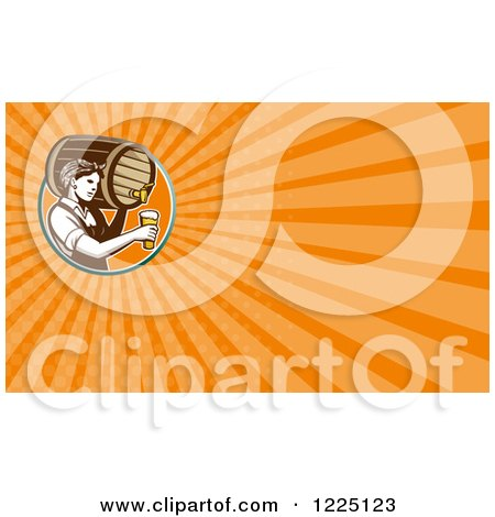 Clipart of a Retro Female Bartender Pouring Beer from a Keg Background or Business Card Design - Royalty Free Illustration by patrimonio