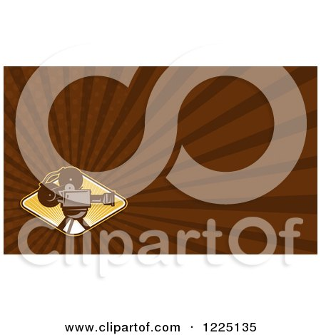 Clipart of a Retro Movie Camera and Brown Rays Background or Business Card Design - Royalty Free Illustration by patrimonio