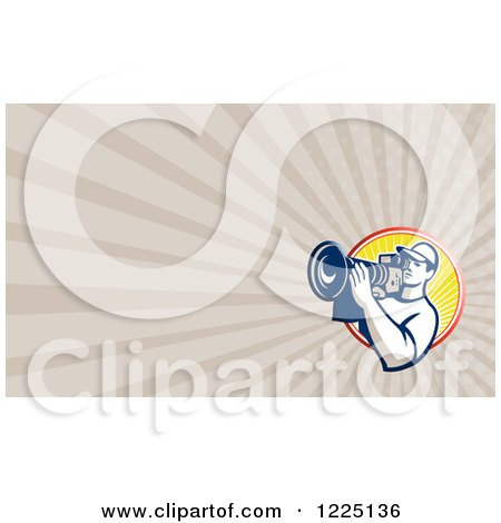 Clipart of a Retro Filming Camera Man Background or Business Card Design - Royalty Free Illustration by patrimonio