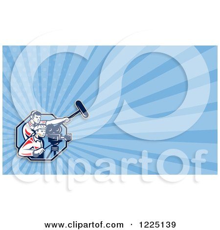 Clipart of a Retro Camera Man and Boom Operator Background or Business Card Design - Royalty Free Illustration by patrimonio