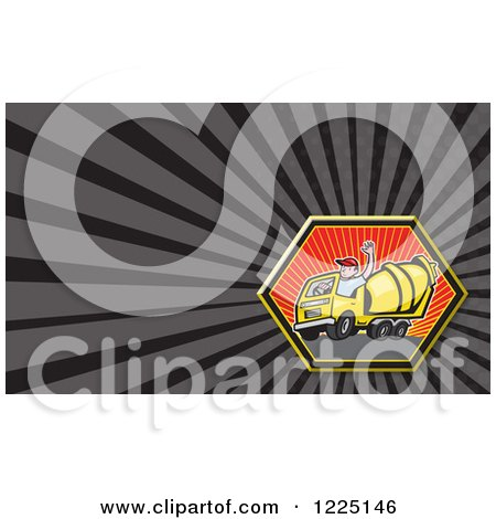 Clipart of a Cement Mixer Truck Driver Background or Business Card Design - Royalty Free Illustration by patrimonio