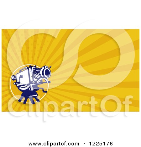 Clipart of a Retro Movie Camera and Yellow Rays Background or Business Card Design - Royalty Free Illustration by patrimonio