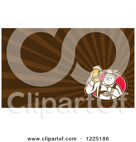 Clipart of a Retro German Man with Beer Background or Business Card Design - Royalty Free Illustration by patrimonio