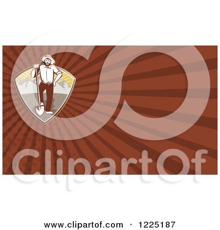 Clipart of a Retro Prospector with a Shovel Background or Business Card Design - Royalty Free Illustration by patrimonio