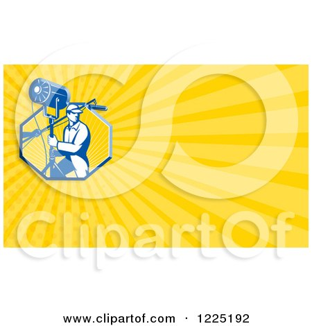 Clipart of a Retro Lighting Technician Background or Business Card Design - Royalty Free Illustration by patrimonio