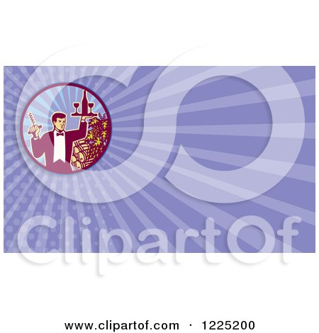 Clipart of a Retro Waiter Serving Wine Background or Business Card Design - Royalty Free Illustration by patrimonio