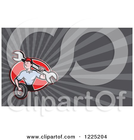 Clipart of a Mechanic with a Wrench and Tire Background or Business Card Design - Royalty Free Illustration by patrimonio
