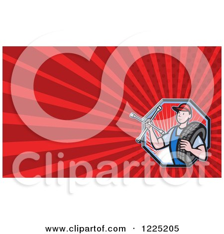 Clipart of a Mechanic with a Tire and Wrench Background or Business Card Design - Royalty Free Illustration by patrimonio