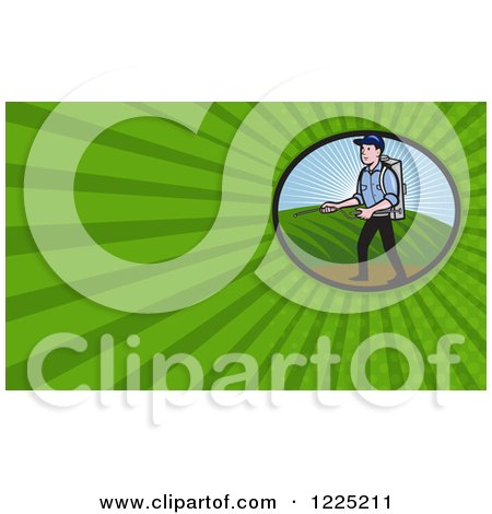 Clipart of a Man Spraying Fertilizer Background or Business Card Design - Royalty Free Illustration by patrimonio