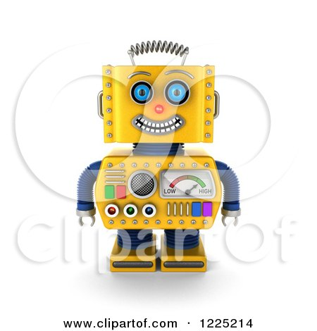 Clipart of a 3d Happy Yellow Retro Robot - Royalty Free Illustration by stockillustrations