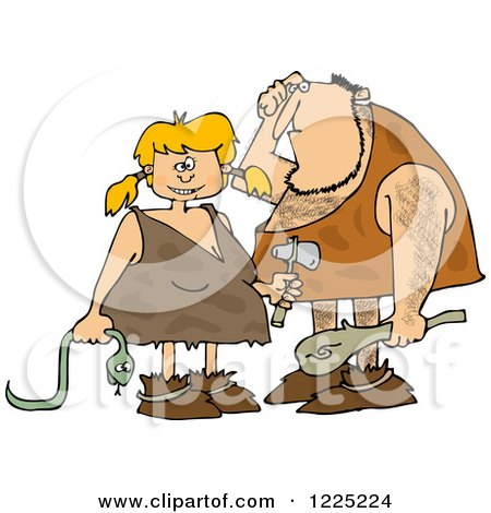Clipart of a Dumb Caveman and Girl with a Snake - Royalty Free Vector Illustration by djart