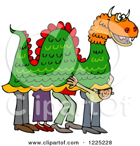 Clipart of a Man Peeking out from Under a Chinese Dragon - Royalty Free Vector Illustration by djart