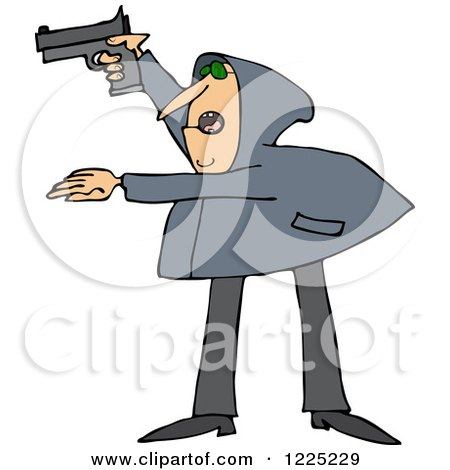 Clipart of an Armed Robber Man in a Hoodie - Royalty Free Vector Illustration by djart