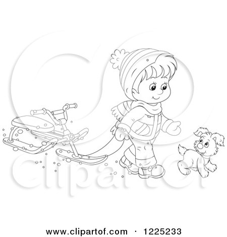 Clipart of an Outlined Puppy and Boy Walking with a Sled Bike - Royalty Free Vector Illustration by Alex Bannykh