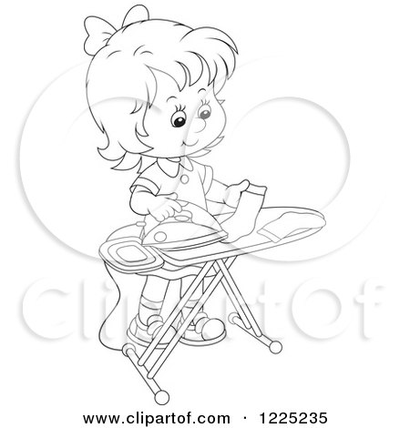 Clipart of an Outlined Girl Ironing Socks - Royalty Free Vector Illustration by Alex Bannykh