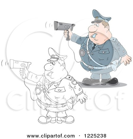Clipart of an Outlined and Colored Chubby Police Offer Blowing a Whistle and Holding a Radar Gun - Royalty Free Vector Illustration by Alex Bannykh