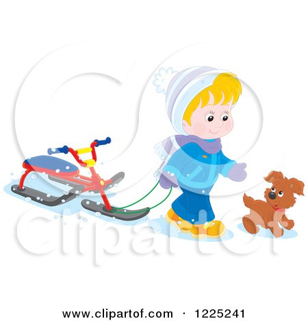 Clipart of a Puppy and Blond Boy Walking with a Sled Bike - Royalty Free Vector Illustration by Alex Bannykh