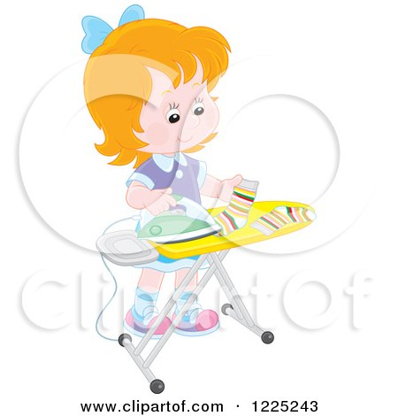 Clipart of a Happy Red Haired Girl Ironing Socks - Royalty Free Vector Illustration by Alex Bannykh