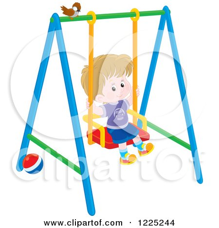 Clipart of a Brunette Caucasian Boy Playing a Swing - Royalty Free Vector Illustration by Alex Bannykh