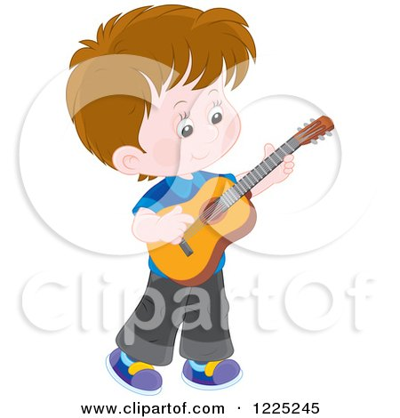 Clipart of a Brunette Caucasian Boy Playing a Guitar - Royalty Free Vector Illustration by Alex Bannykh