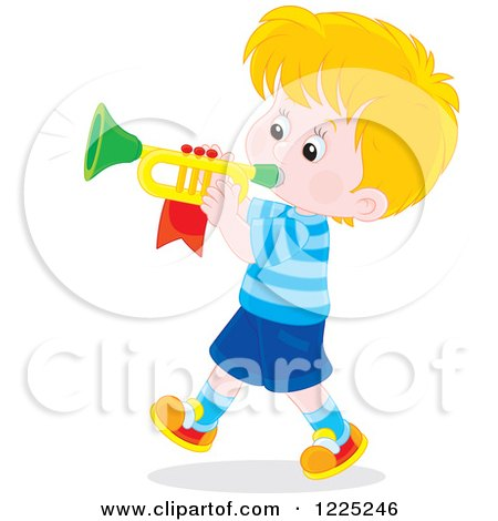 Clipart of a Brunette Caucasian Boy Playing a Trumpet - Royalty Free Vector Illustration by Alex Bannykh