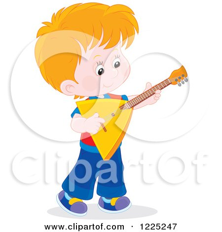 Clipart of a Brunette Caucasian Boy Playing a Balalaika Guitar - Royalty Free Vector Illustration by Alex Bannykh