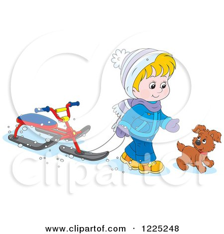 Clipart of a Puppy and Boy Walking with a Sled Bike - Royalty Free Vector Illustration by Alex Bannykh