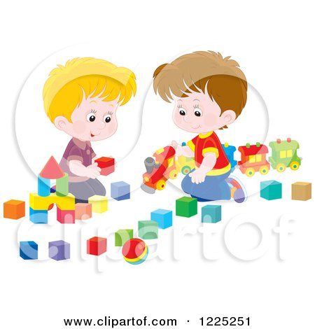 Clipart of Happy Caucasian Boys Playing with Blocks and a Toy Train - Royalty Free Vector Illustration by Alex Bannykh