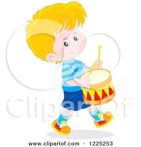 Clipart of a Happy Caucasian Boy Playing Drums - Royalty Free Vector Illustration by Alex Bannykh