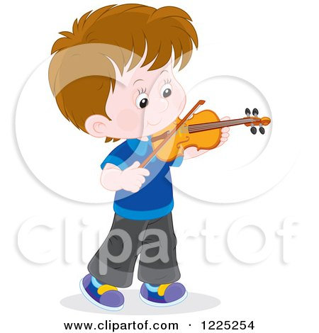 Clipart of a Brunette Caucasian Boy Playing a Violin - Royalty Free Vector Illustration by Alex Bannykh
