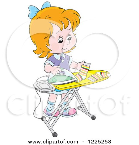 Clipart of a Red Haired Girl Ironing Socks - Royalty Free Vector Illustration by Alex Bannykh