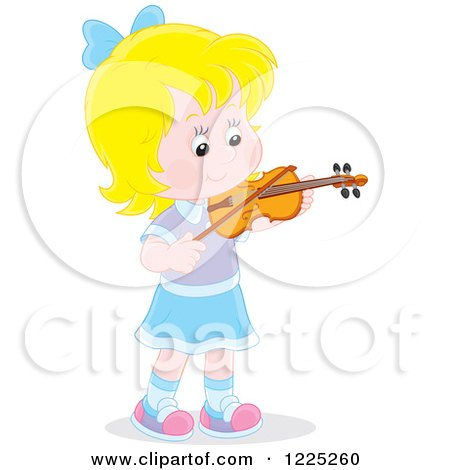 Clipart of a Blond Caucasian Girl Playing a Violin - Royalty Free Vector Illustration by Alex Bannykh