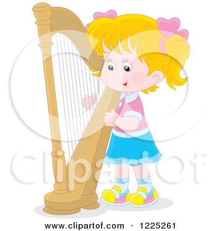 Clipart of a Blond Caucasian Girl Playing a Harp - Royalty Free Vector Illustration by Alex Bannykh