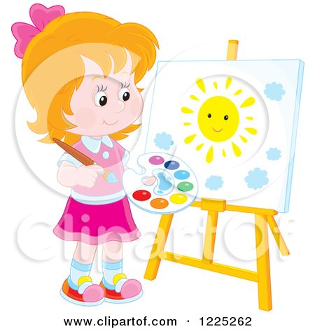 Clipart of a Happy Blond Boy Painting a Sun on an Art Easel - Royalty Free Vector Illustration by Alex Bannykh