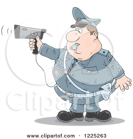 Clipart Of A Chubby Police Offer Blowing A Whistle And Holding A Radar Gun Royalty Free Vector Illustration
