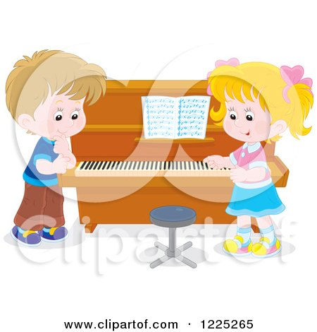 Clipart of a Boy and Girl Talking at a Piano - Royalty Free Vector Illustration by Alex Bannykh