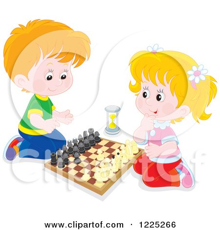 Clipart of a Caucasian Boy and Girl Playing Chess - Royalty Free Vector Illustration by Alex Bannykh