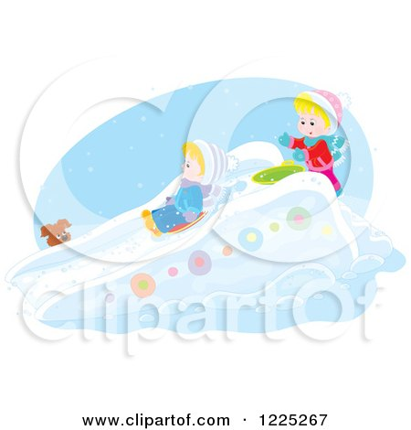 Clipart of a Puppy Watching a Winter Boy and Girl Going down a Snow Slide - Royalty Free Vector Illustration by Alex Bannykh