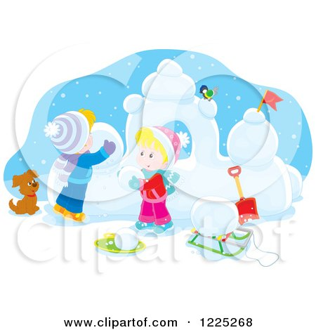 Clipart of a Winter Boy and Girl Building a Fortress with Snow - Royalty Free Vector Illustration by Alex Bannykh