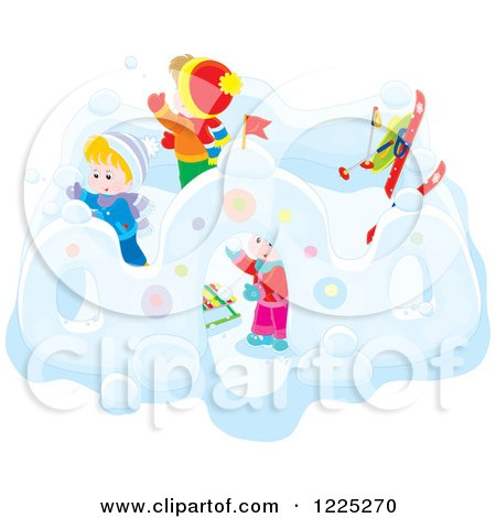 Clipart of Winter Children Building a Fortress with Snow - Royalty Free Vector Illustration by Alex Bannykh
