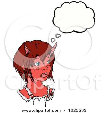 Clipart of a Thinking Devil Girl - Royalty Free Vector Illustration by lineartestpilot