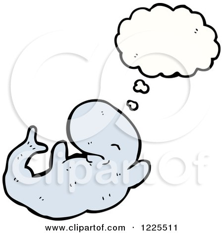 Clipart of a Thinking Whale - Royalty Free Vector Illustration by lineartestpilot